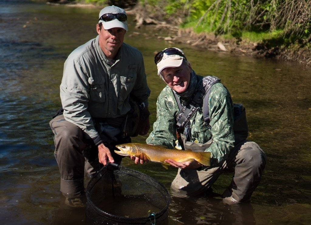 Graham with Collin McKeown from The New Fly Fisher Show filming big wild brown trout.