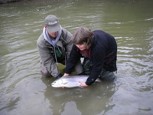 Guide Graham helping a young angler