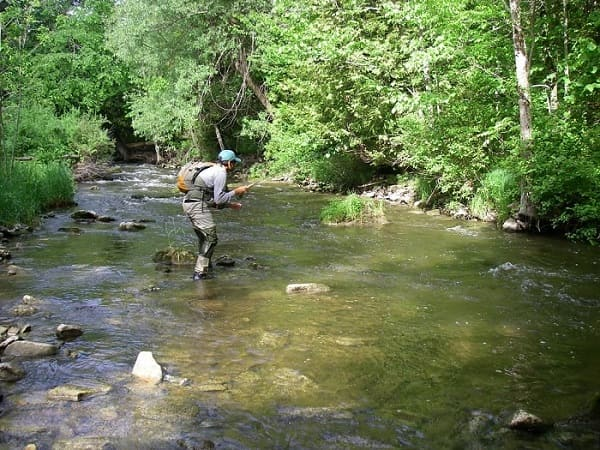 An angler fishing a 10 foot nymphing rod on a small river