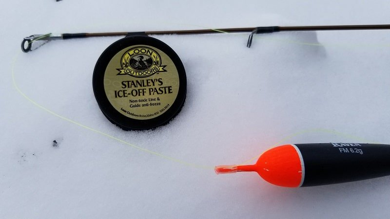 Use Stanley's Ice Off Paste to keep fishing rod guides from freezing