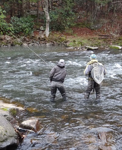 Wading jackets are great river fishing gear for keeping you warm and dry on the river.