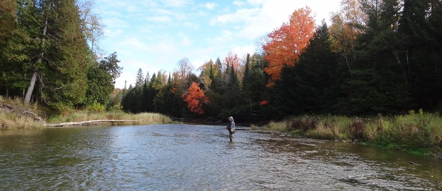 On medium sized rivers like this one, the best way to catch steelhead is float fishing