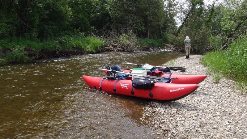 Pontoon boats are the best fly fishing boats for smaller streams and rivers