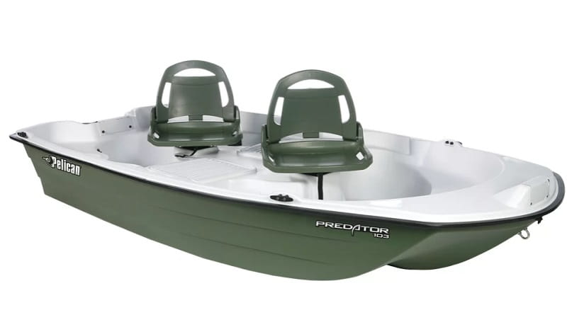 Hard bottom fly fishing boats like the Pelican pro are good for lakes