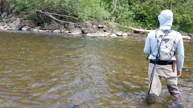 Deeper flatter water like this is great for float fishing with flies