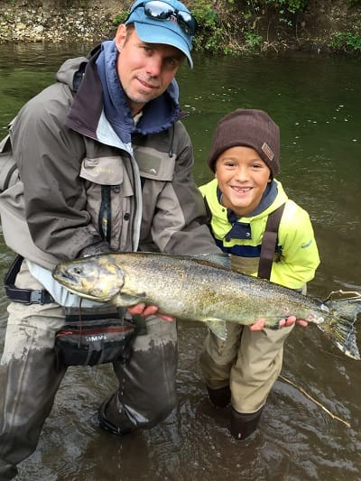 A young client with his first salmon